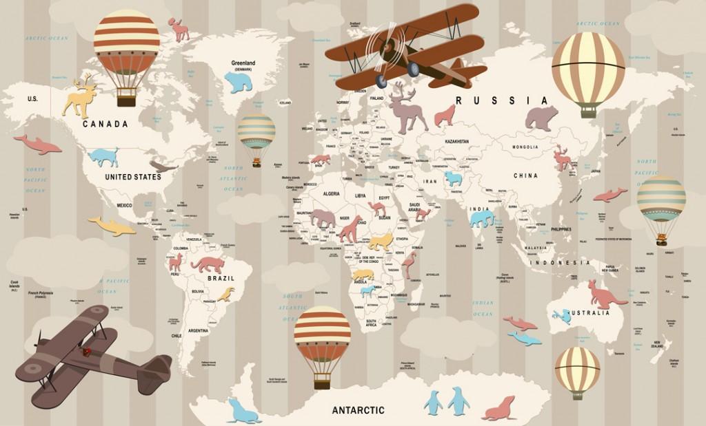 Фотообои Десткая карта с животными