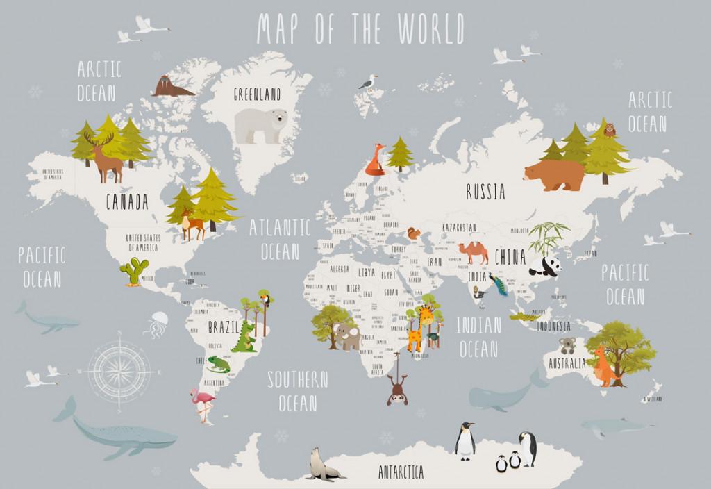 Фотообои Детская карта для развития