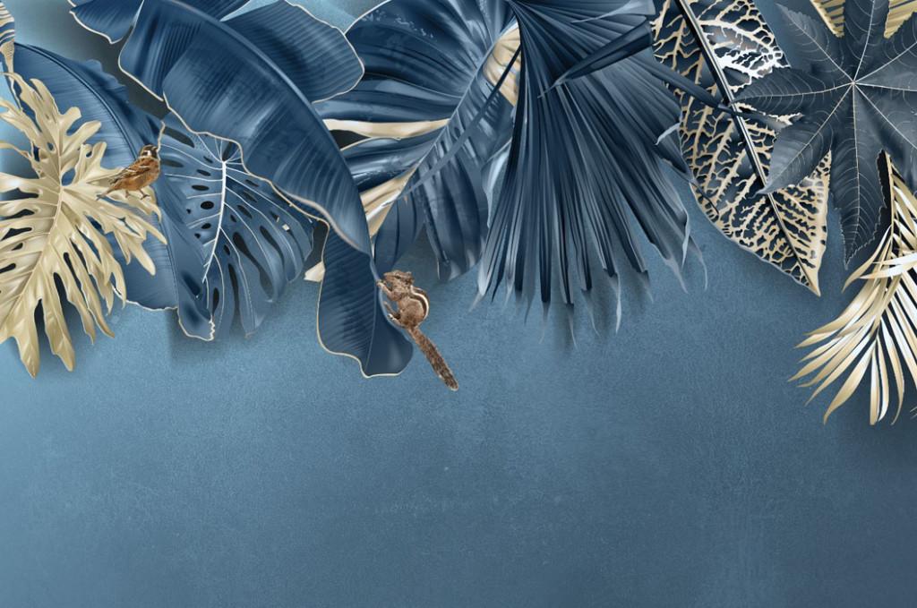 Фотообои Синие тропические листья
