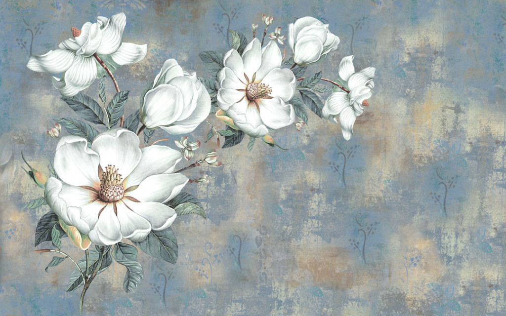 Фотообои Белые цветы на винтажном фоне