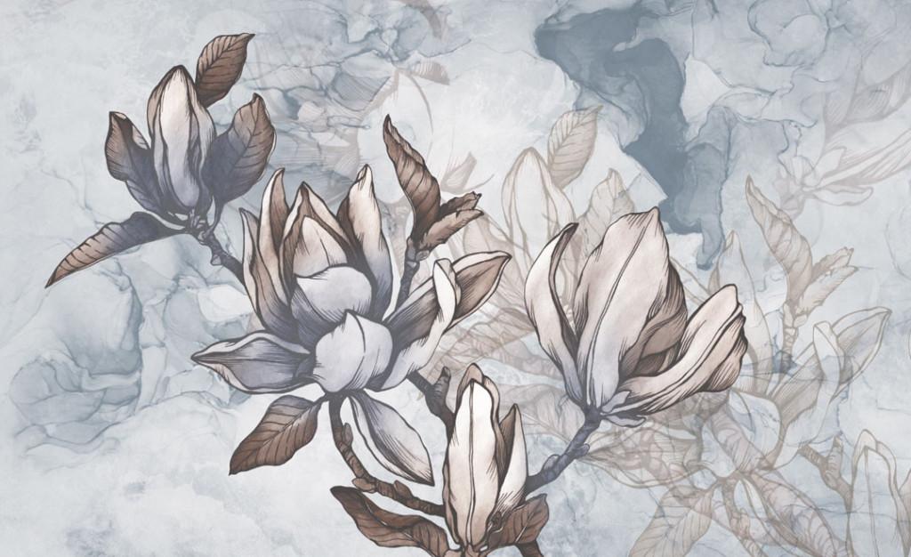 Фотообои Векторные серые цветы