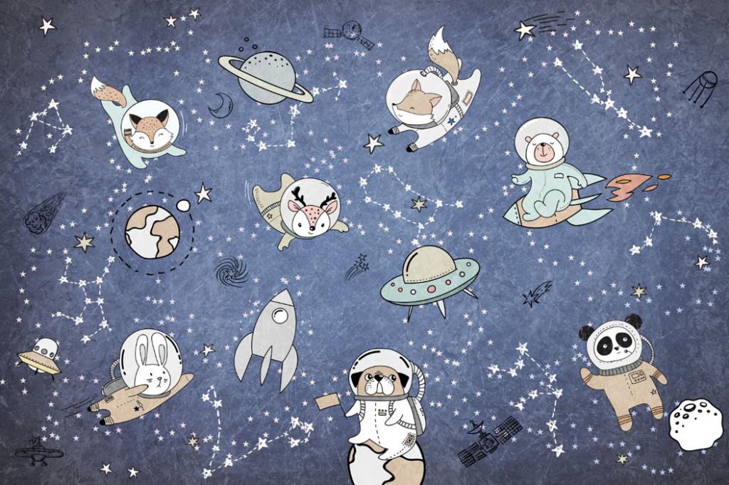 Фотообои Зверята в космосе