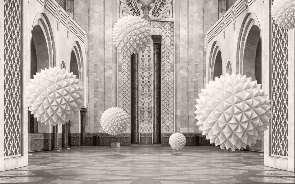 Фотообои 3д сферы в коридоре