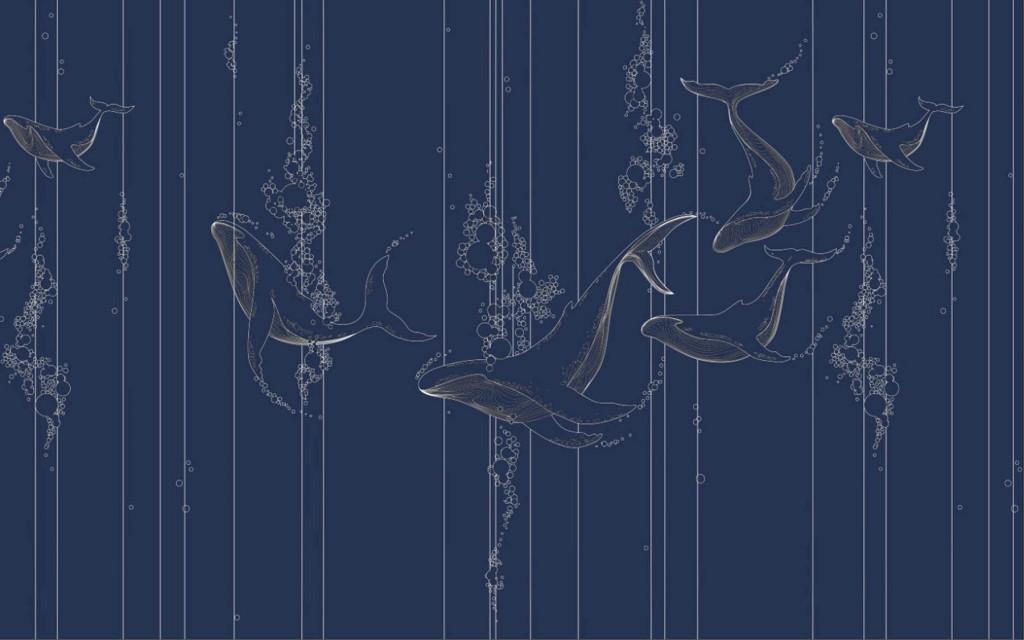Фотообои кит, векторные линии