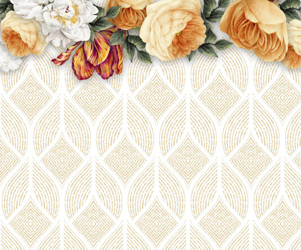 Фотообои декоративные узоры с цветами