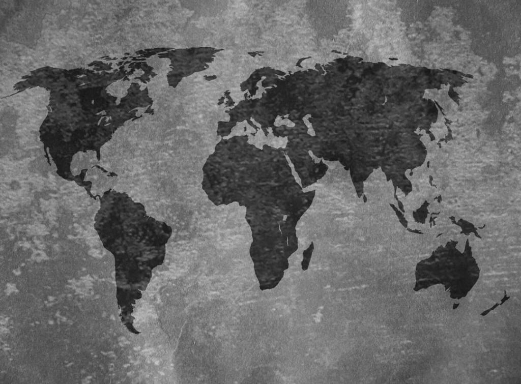 Фотообои Черно-белая карта мира