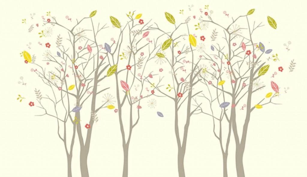 Фотообои Векторные деревья на желтом фоне