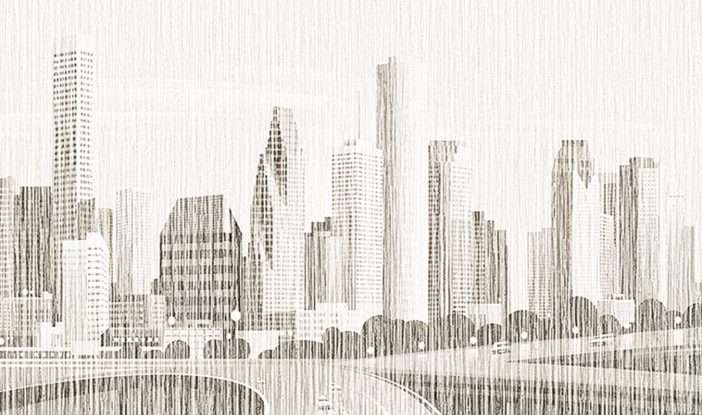 Фотообои Город под текстурой соломки