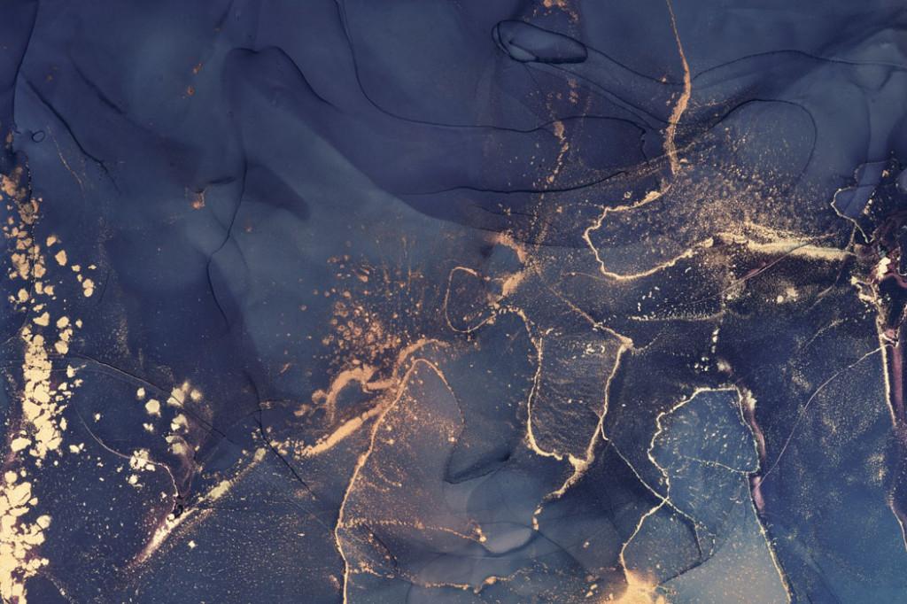 Фотообои Флюид Арт темно синий