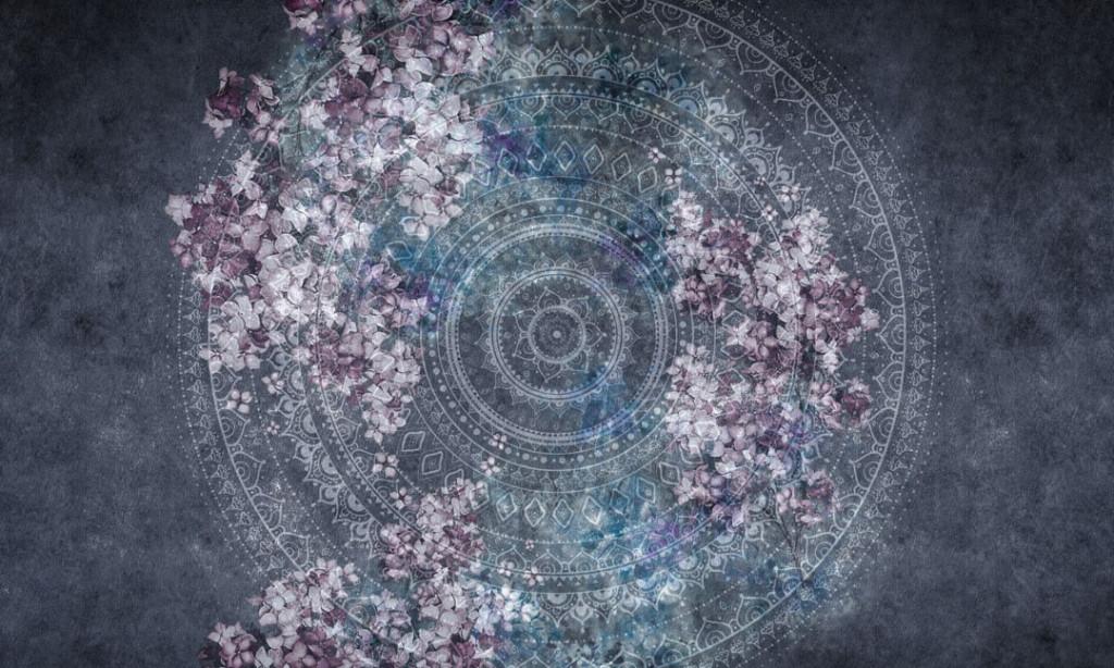 Фотообои Мандала с фиолетовыми цветами