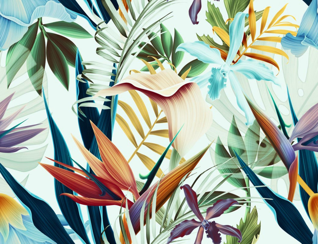 Фотообои Цветные тропические листья