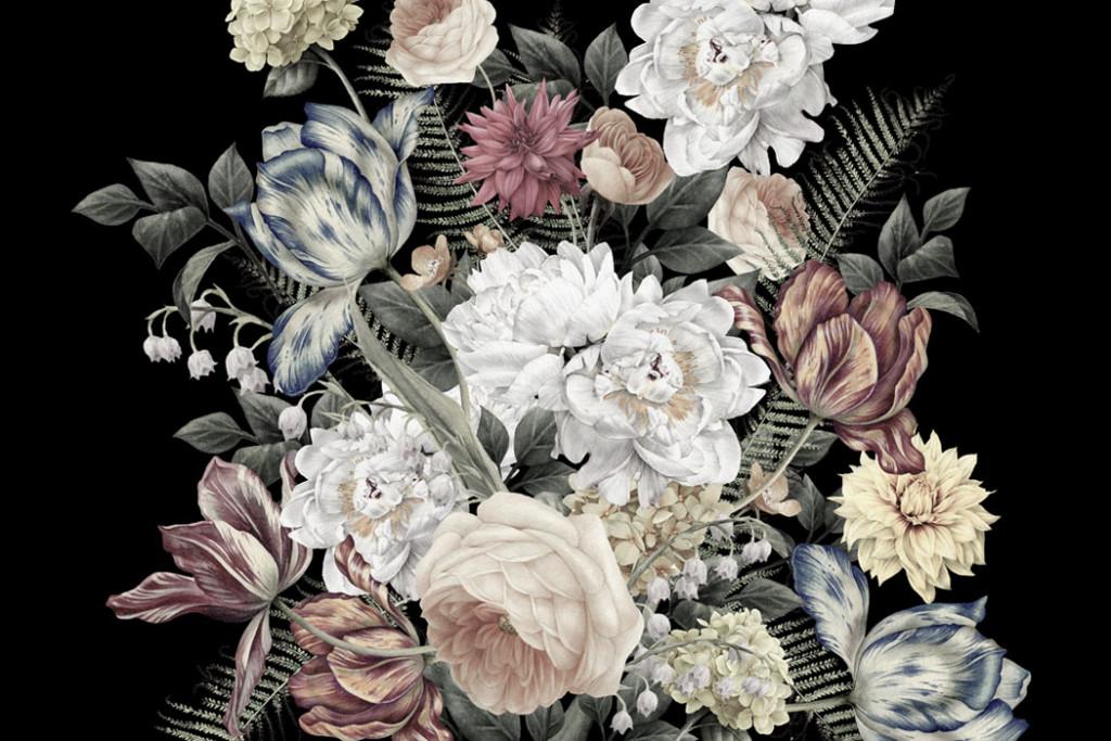 Фотообои Винтажные цветы на чёрном