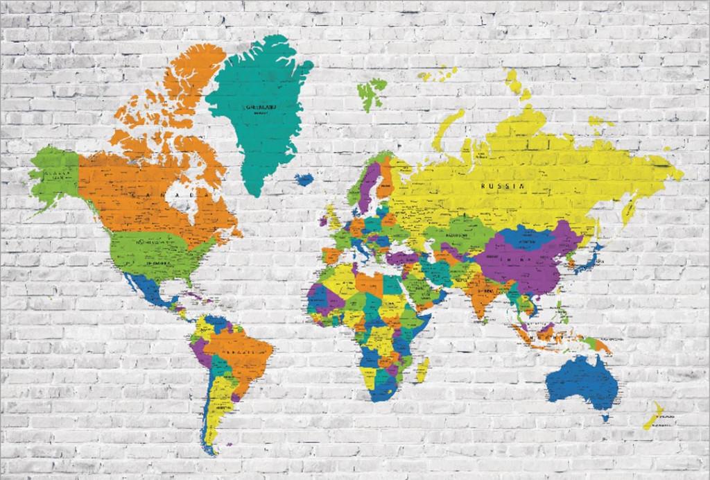 Фотообои Цветная карта мира