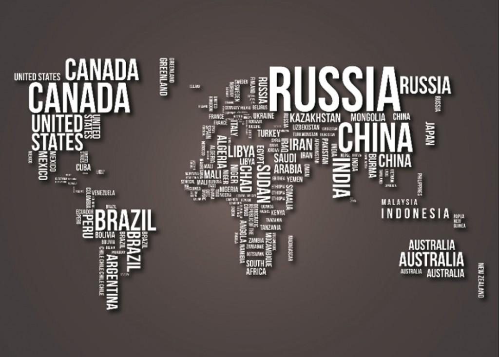 Фотообои Название стран в виде карты мира