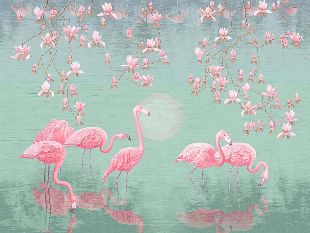 Фотообои Сказочные фламинго