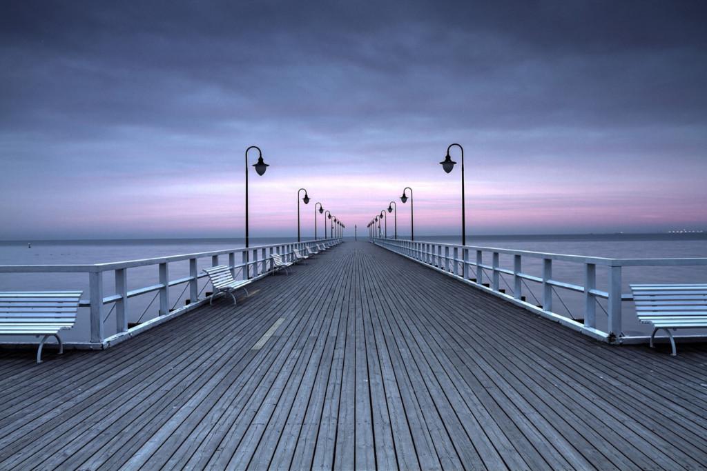 Фотообои причал и закат