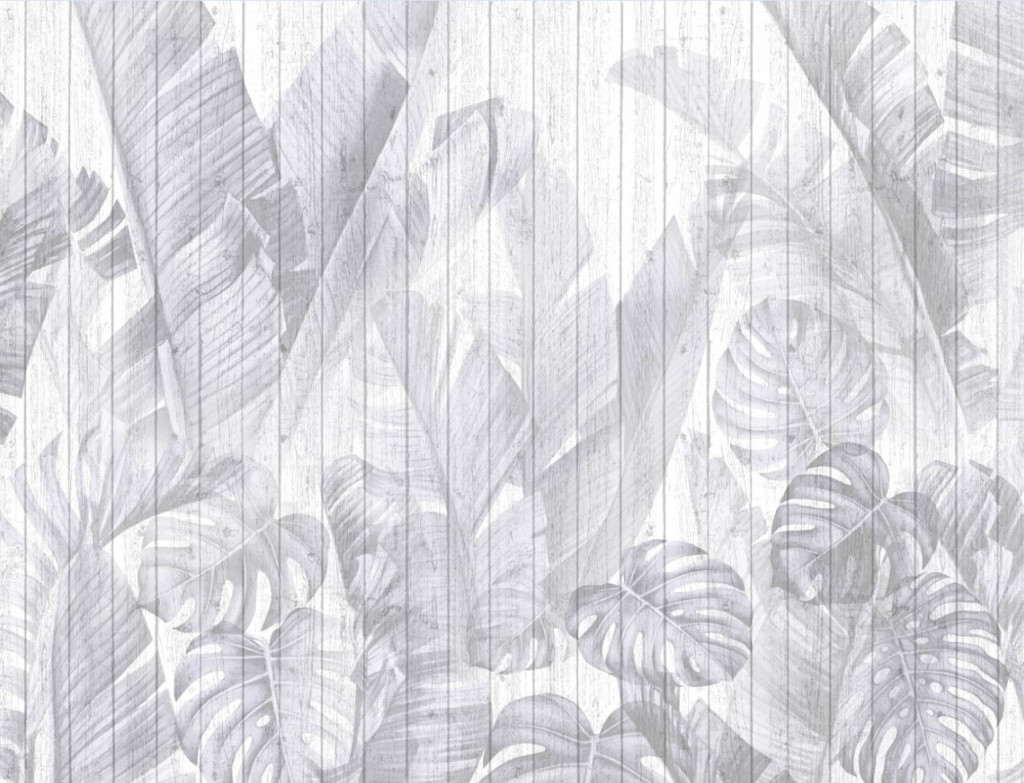 Фотообои серые тропические листья