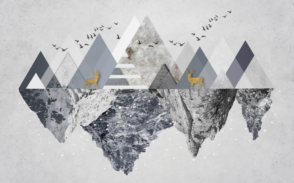 Фотообои горы и птицы