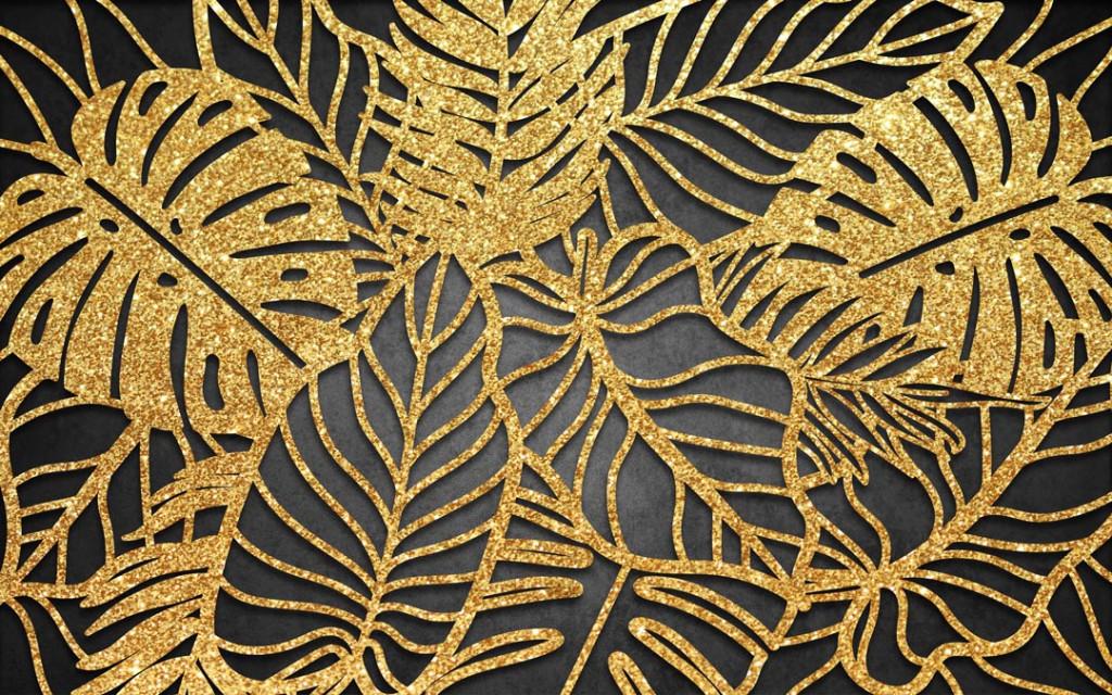 Фотообои Золотые листья на темном фоне