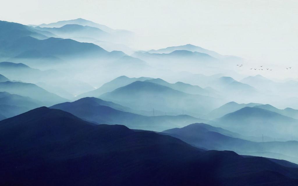 Фотообои Скандинавские синие горы