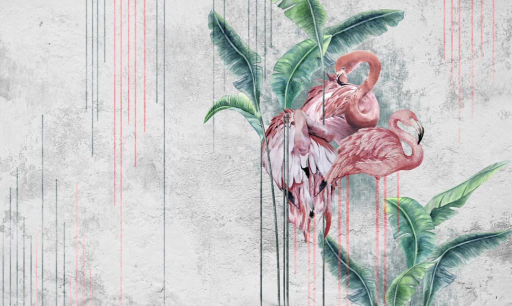 Фотообои Розовые фламинго на сером фоне