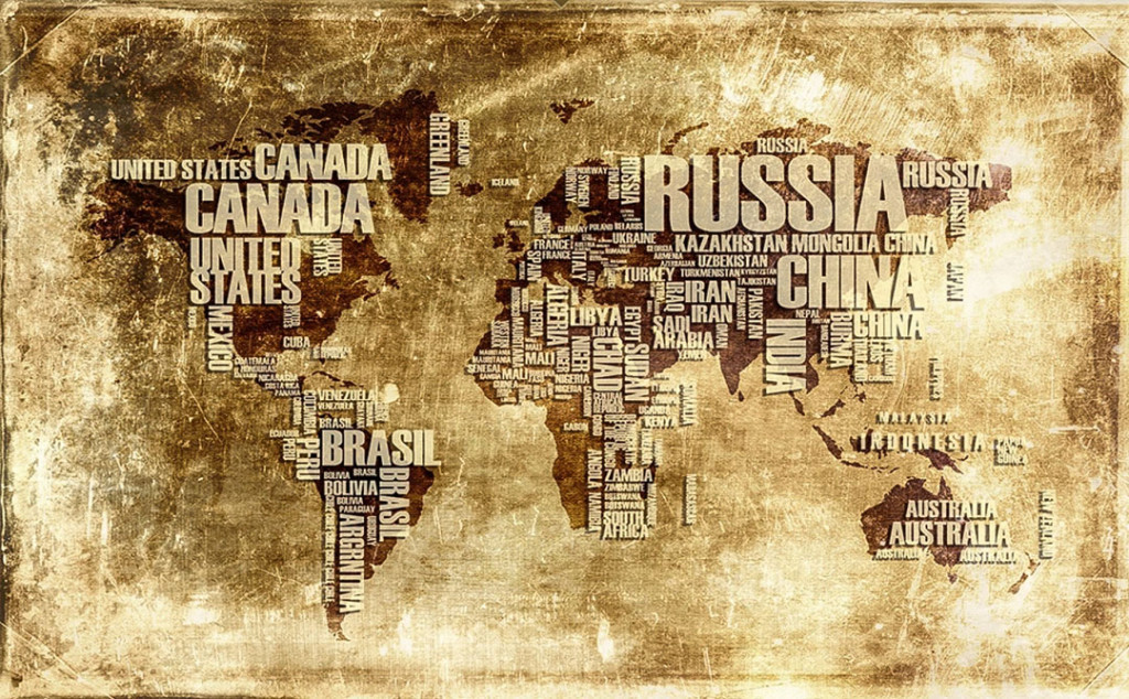 Фотообои Карта Мира из текста