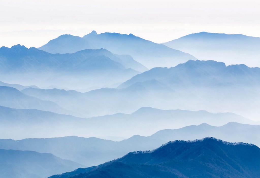 Фотообои синие горы в тумане