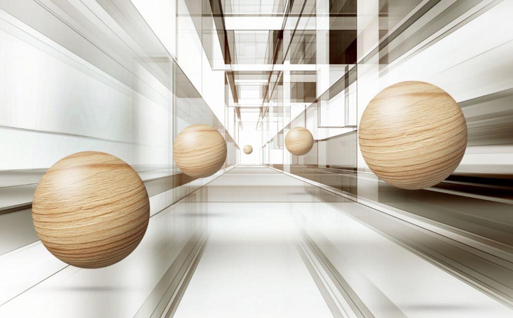 Фотообои 3д шары в тоннеле