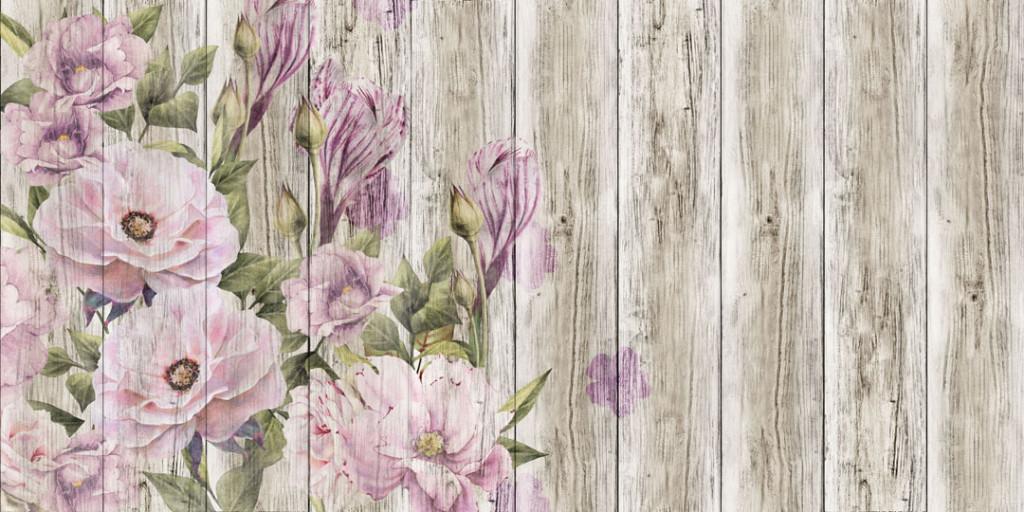 Фотообои Винтажные цветы на досках