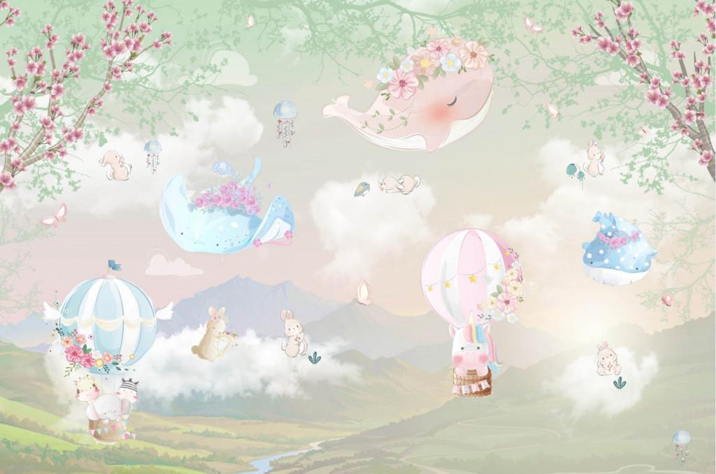 Фотообои животные на воздушных шарах