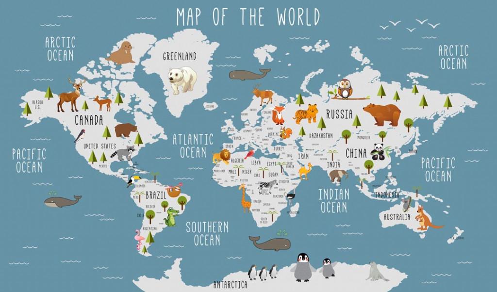Фотообои Детская карта мира