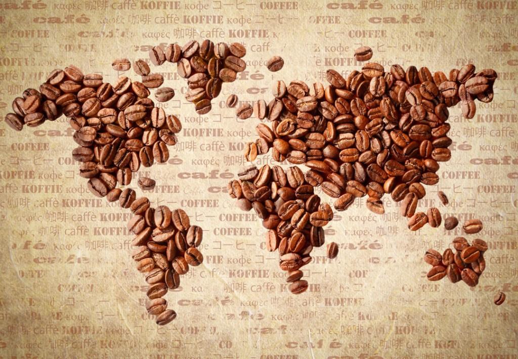 Фотообои Кофейные зерка в виде карты