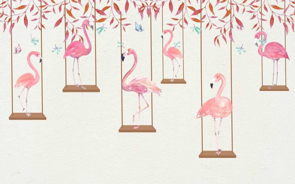 Фотообои Фламинго и качели