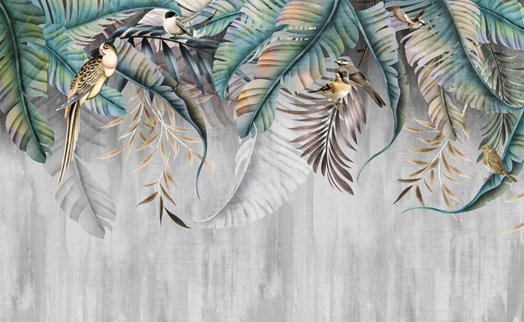 Фотообои Дизайнерские листья и птички