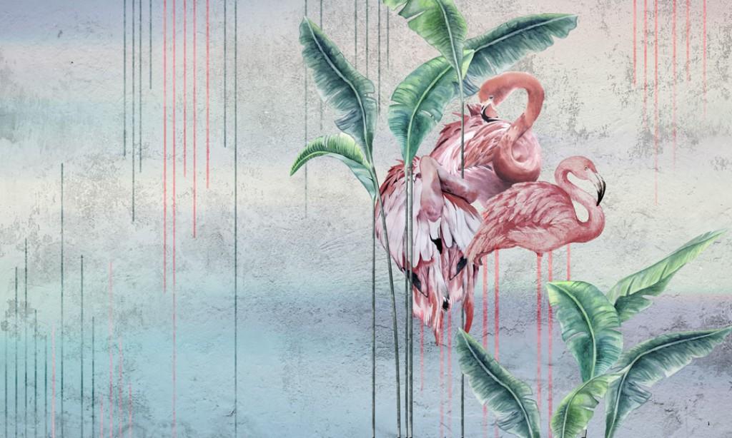 Фотообои Фламинго на фоне декор стены