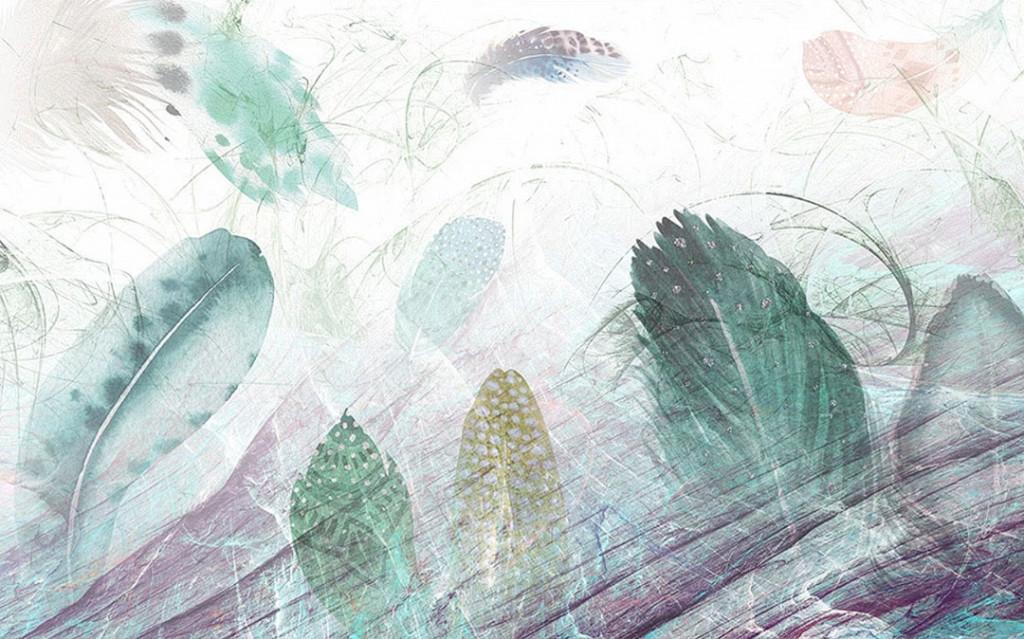 Фотообои Цветные перья с эффектом потертости