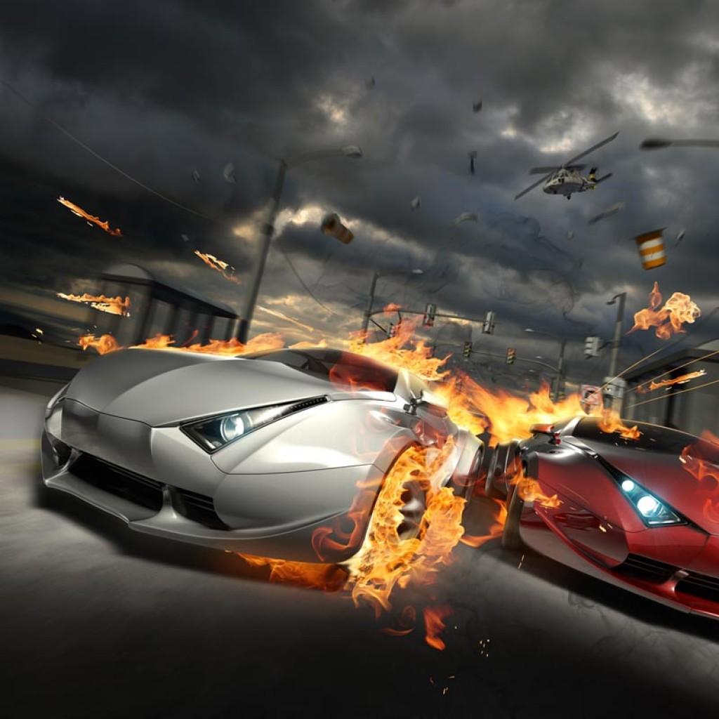 Фотообои Огненные автогонки