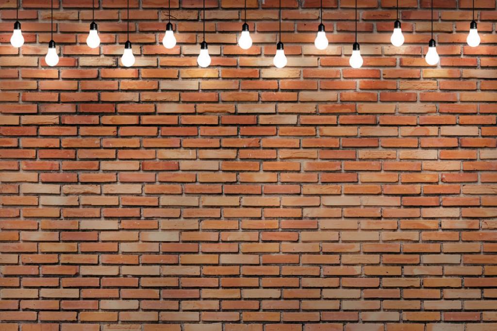 Фотообои Лампы на фоне стены
