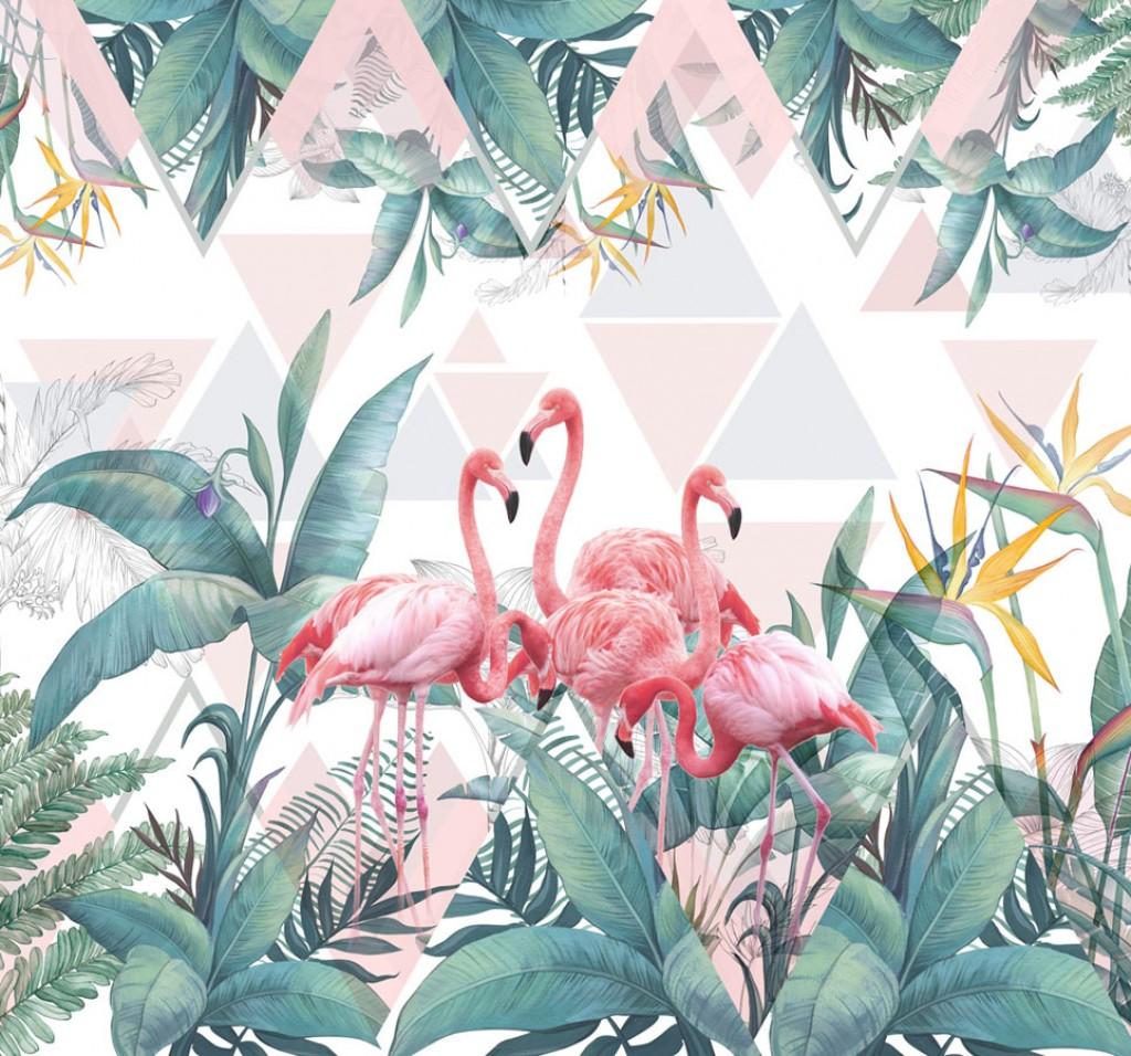 Фотообои Фламинго и тропические листья