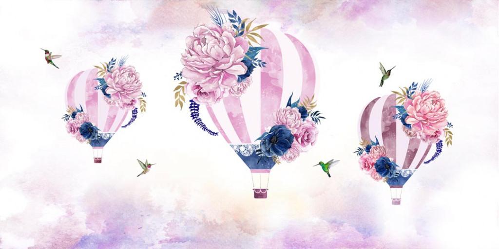 Фотообои Воздушные шары украшены цветами