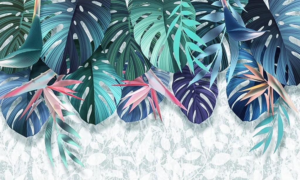 Фотообои Цветные тропические листья с потолка