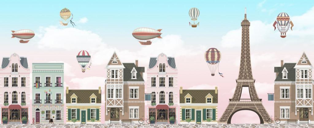 Фотообои  Домики и воздушные шарики
