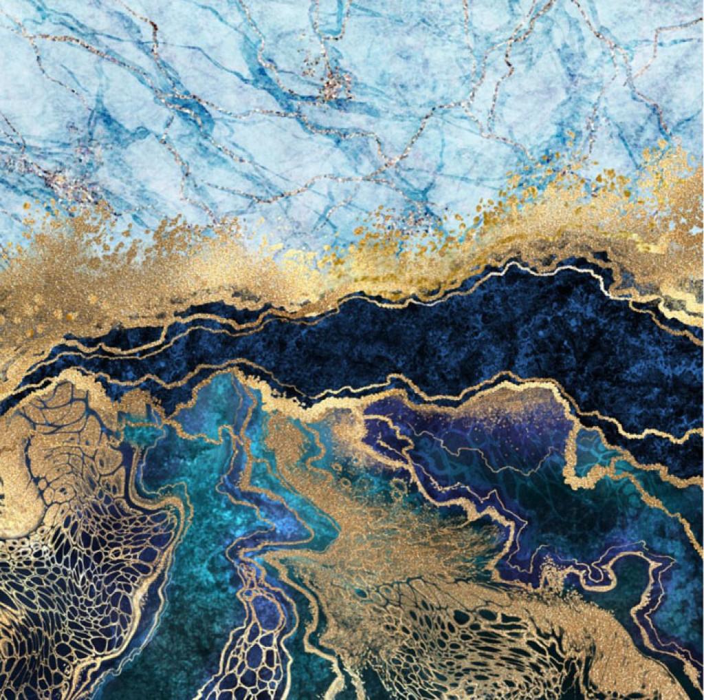 Фотообои Синий мрамор с золотом