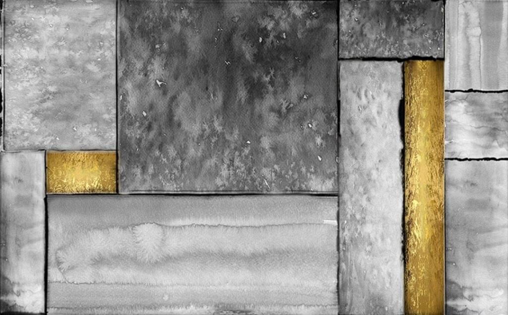Фотообои Серые и золотые плитки