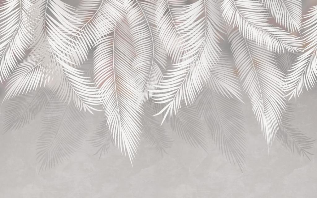 Фотообои Серые листья с потолка