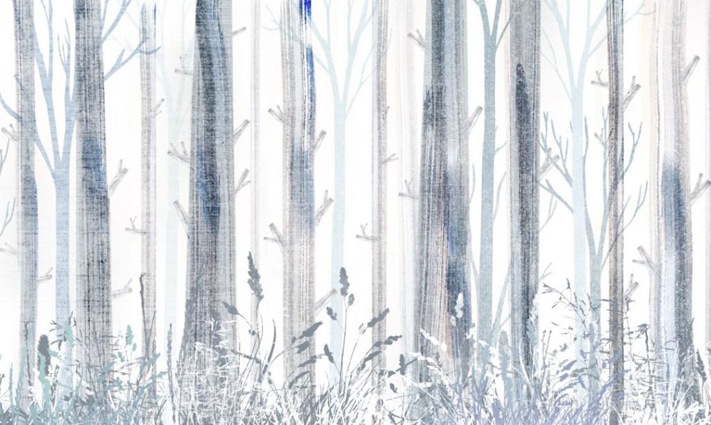 Фотообои Мазки красок в виде деревьев