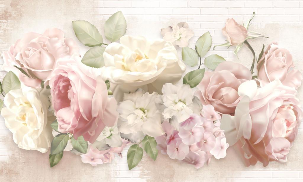 Фотообои цветы на фоне стены