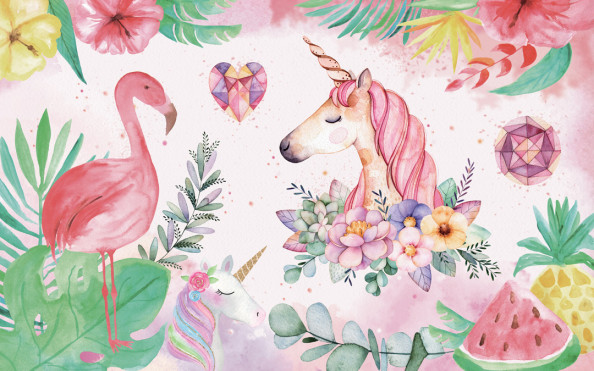 Фотообои Детские единороги и фламинго