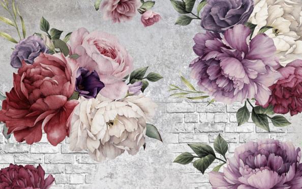 Фотообои Разноцветные пионы и кирпичная стена