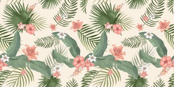 Фотообои Паттерн цветов и листьев